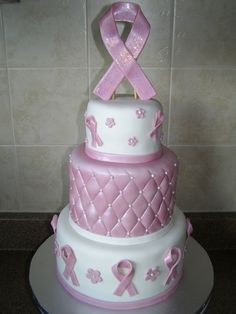 Breast Cancer Fundraiser Cake - I donated this cake to a good customer to was holding a fundraiser for her friend who is battling breast cancer. All MMF with gumpaste pink ribbon on top. Pretty Cakes, Cute Cakes, Beautiful Cakes, Amazing Cakes, Breast Cancer Cake, Breast Cancer Fundraiser, Take The Cake, Cake Boss, Fancy Cakes