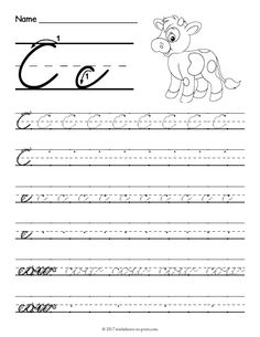 Amazing Help Kids Learn How To Write Both An Uppercase And A Lowercase Cursive  Letter C With This Fun Handwriting Worksheet Featuring A Cow.