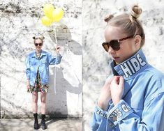 The Whitepepper Hide And Seek Denim Jacket, The Whitepepper Graphic Floral Dress, The Whitepepper Vintage Style Square Sunglasses, The Whitepepper Wedge Trainer Black