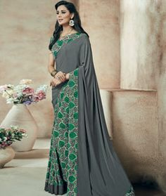 Buy Gray Crepe Printed Saree With Blouse 73995 with blouse online at lowest…