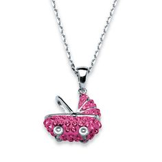 Pink Baby Carriage Pendant Necklace Made With SWAROVSKI ELEMENTS in Sterling Silver