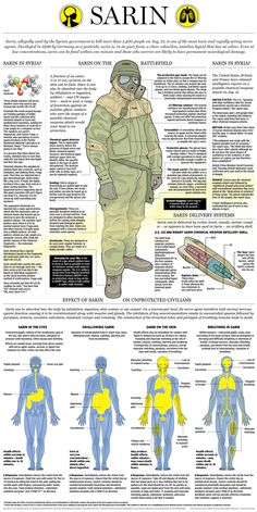 This is Visual Journalism Sarin Chemical Warfare Nerve Agent, infographic by Richard Johnson, Mike Faille, Jonathon Rivait Nerve Agent, Chemical Weapon, Naval, Military Equipment, Military Weapons, Modern Warfare, War Machine, Special Forces, Emergency Preparedness