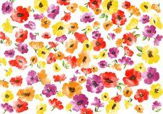 ポーセラーツ,水彩の花柄の転写紙