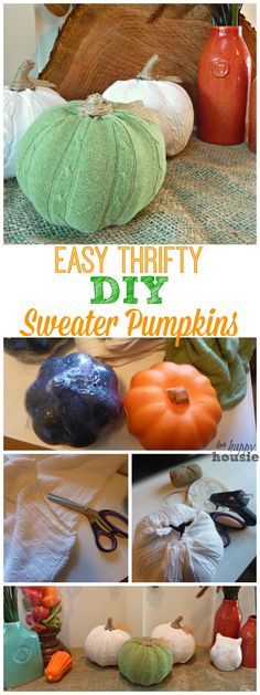 Cozy Up Your Fall Decor with Easy DIY Sweater Pumpkins - The Happy Housie (easy sweets diy) Fall Halloween, Halloween Crafts, Holiday Crafts, Holiday Fun, Samhain Halloween, Halloween Ideas, Sweater Pumpkins, Fall Pumpkins, Fabric Pumpkins