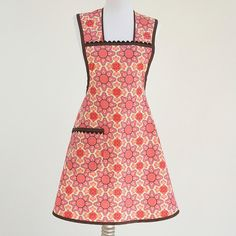 Plus Size Retro Full Apron Geometric Orange Brown by TerraceHill, $36.50