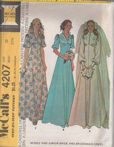 MOMSPatterns Vintage Sewing Patterns - McCall's 4207 Vintage 70's Sewing Pattern LOVELY Classic Styled Victorial Look Wedding Gown, Empire Waist Prom Formal, Evening Dress Size 16
