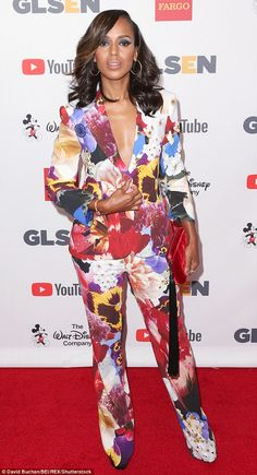 Flower power: Kerry Washington, 40, arrived at the GLSEN Respect Awards on Friday night in...