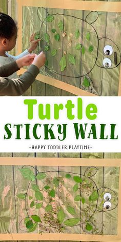 Nature Turtle Sticky Wall: Outdoor Activity - HAPPY TODDLER PLAYTIME Outdoor Water Activities, Ocean Activities, Animal Activities, Kids Learning Activities, Infant Activities, Outdoor Activities For Toddlers, Summer Activities For Kids, Lessons For Kids, Kids Obstacle Course