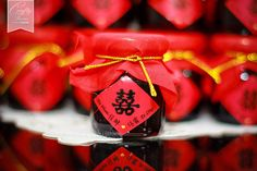 Oriental Chinese Themed Blackcurrent Jam Wedding Favours