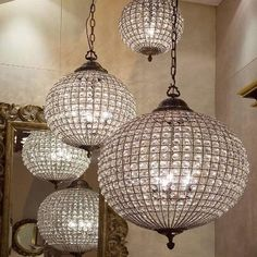 These globe chandeliers are just stunning! Real show stoppers and already at the top of the list with interior designers. Aged brass and crystal and available in three sizes, perfect for any room. Retailing at well over £1000! Design tip - If you have the space for it they look divine when all three are placed together. Please buy with confidence. Also available in Pewter/Silver. Bargain! Specifications:Colour: Aged brass frameMaterial: GlassDiameter of Globe: 30cm Small, 45cm Medium, 60cm…