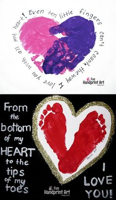 Footprint Heart with Poem Keepsake - Fun Handprint Art Footprint & Handprint Heart Crafts for Mother's Day or Grandparent's Day Diy Mother's Day Crafts, Valentine's Day Crafts For Kids, Valentine Crafts For Kids, Daycare Crafts, Classroom Crafts, Mother's Day Diy, Baby Crafts, Preschool Crafts, Christmas Crafts