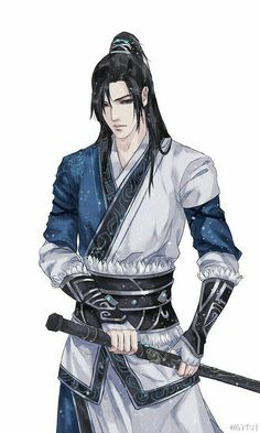 chinese men with long black hair with ponytail Fantasy Art Warrior, Anime Warrior, Warrior Drawing, Fantasy Character Design, Character Inspiration, Character Art, Dnd Characters, Fantasy Characters, Chica Anime Manga