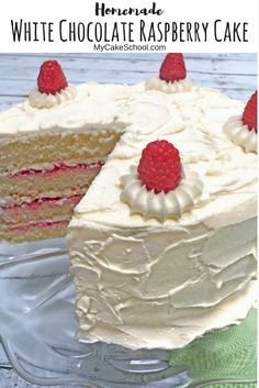 Amazing White Chocolate Raspberry Cake Recipe from Scratch! Perfect for any special occasion! MyCakeSchool.com