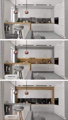 Kuchnia biel drewno halifax Kitchen Modern, Kitchen Dining, Kitchen Ideas, White Wood, Room Decor, Contemporary, Decor Ideas, Furniture, Lighting