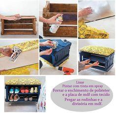 Caixote Na Decoração / DIY / Recycle #home #decor Shoe Rack, Diy Recycle
