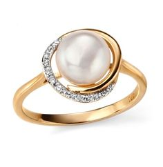 9ct Yellow Elements  Gold Button Pearl and Diamond Ring