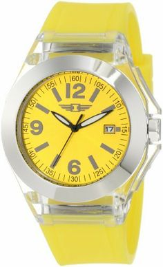 Invicta Women's IBI-10068-002  Silver Dial Yellow Polyurethane Watch Invicta. $79.00. Silver dial with black hands, hour markers and arabic numerals; luminous; black second hand. Yellow mineral crystal; clear plastic case with stainless steel back; yellow polyurethane strap. Date function. Water-resistant to 50 m (165 feet). Japanese quartz movement