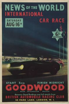 English Jaguar advertising poster for a race in London (1950s)