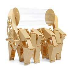 "Build your own mini-version of Theo Jansen's Animaris Rhinoceros Transport with this kit. Containing over 80 parts, it snaps together in just over an hour and a half and produces a Mini-Beest whose size is about a 6"" cube."