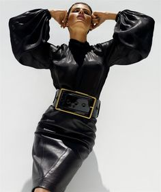 Leather pencil skirt, giant belt and buckle, leather blouse. Photo by Solve Sundsbo whose brilliance outshines fashion itself.