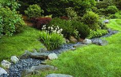 drainage swale, dry creek, dry stream