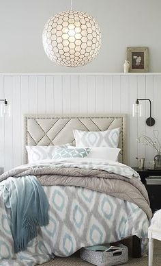 Calming colors & pendant lighting http://rstyle.me/n/n7v6wn2bn