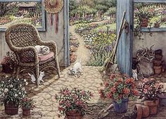 Potting Shed a painting of an outdoor shed with cobblestone floors is the perfect place to repot flowers and to raise a litter of kittens, by Janet Kruskamp. One of her Interior and Exterior Scenes Paintings Gallery of Original Oil Paintings and  Personally Enhanced Giclees, signed by Janet Kruskamp.