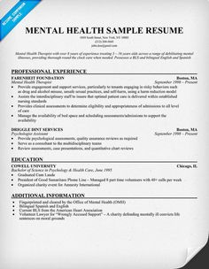 Mental Health Resume Example (http://resumecompanion.com) #health # ...