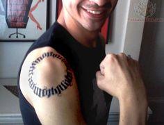 Unique Ambigram Zen Circle Tattoo On Man Right Shoulder Circle Tattoos, Shoulder Tattoos, Tattoos For Guys, Unique, Zen, Shoulder Tattoo, Tattoos For Men, Cap Sleeve Tattoos