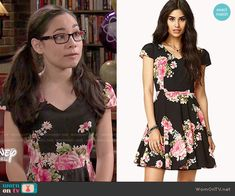 Smackle's black and pink floral dress on Girl Meets World.  Outfit Details: http://wornontv.net/51634/ #GirlMeetsWorld