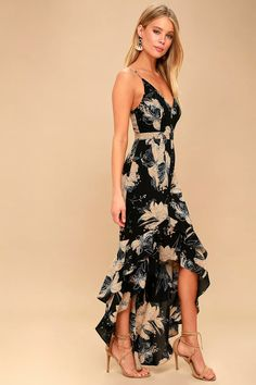 fd96a0f6a90ce7 Watch your style blossom in the Darling Daylily Black Floral Print High-Low  Maxi Dress! Moody floral print decorates this high-low maxi dress.