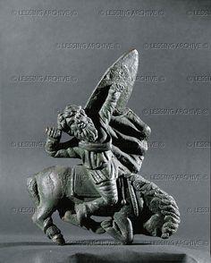 54 ROMAN SCULPTURE 1ST-3RD CE Barbarian thrown by his horse. Bronze figurine Height 13.5 cm Inv. VI 82 Kunsthistorisches Museum, Antikensammlung, Vienna, Austria