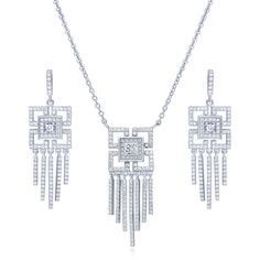 BERRICLE Sterling Silver CZ Art Deco Bridesmaids Necklace and Earrings... ($124) ❤ liked on Polyvore featuring jewelry, earrings, sets, clear, women's accessories, sterling silver jewelry, sterling silver jewelry sets, sterling silver post earrings, sterling silver chain earrings and lobster clasp charms