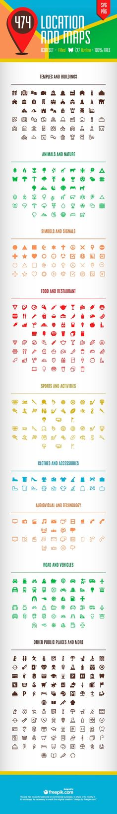 240 Free Location and Maps Icons. Including things from food and drinks, to animals, sports and shopping (ec). Icon Design, Web Design, Location Icon, Location Map, Map Icons, Vector Icons, Design Graphique, Branding, Interface Design