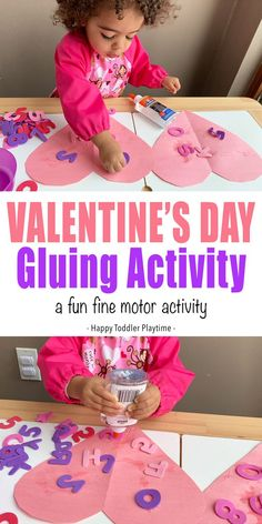 Valentine's Day Gluing Activity - HAPPY TODDLER PLAYTIME This Valentine's Day gluing activity is the perfect fine motor activity for toddlers this February. It makes a great indoor activity on a cold morning! Source by HessUnAcademy and me activities Toddler Play, Toddler Learning, Toddler Preschool, Toddler Crafts, Toddler Activities, Preschool Alphabet, Infant Toddler, Preschool Valentine Crafts, Valentines Day Activities