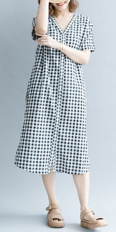 Fashion Black Plaid Cotton Linen Dresses Women Casual Outfits Q1076