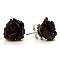 Black Rose Stud Earrings by RockLove, I really need to get black rose earrings. Rose Jewelry, Jewelry Box, Jewelry Accessories, Black Jewelry, Jewlery, Black Earrings, Rose Earrings, Heart Earrings, Or Noir