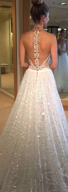 This @bertabridal dress is so pretty - just look at how it glistens!