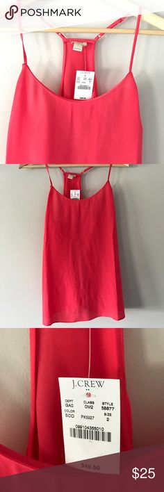 NWT J. Crew Melon Racerback Size 2 ❤️ NWT J. Crew Melon/Pink colored Size 2 racerback tank! 100% polyester. First picture is more try to color. From a smoke free home. J. Crew Tops Tank Tops