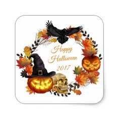 Halloween Chic Wreath Crows Pumpkins Leave Sticker - Halloween happyhalloween festival party holiday