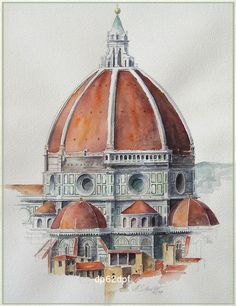 "forno albert-schneider:  ""El duomo firenze"", watercolor. I painted this picture with watercolors in the year 1997… Size 30x40 cm…  #Short #haircut #highlight #Cheryl #Short #Plant Architecture Antique, Architecture Concept Drawings, Watercolor Architecture, Architecture Sketchbook, Watercolor Landscape, Art Sketchbook, Art And Architecture, Watercolor Art, Renaissance Architecture"