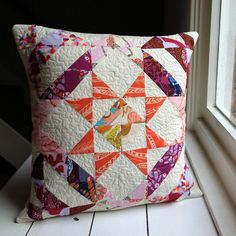 Leftover Swoon Pillow by Laura @ Needles, Pins and Baking Tins, via Flickr