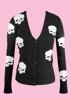 Skull Knit Button Up Cardigan Black
