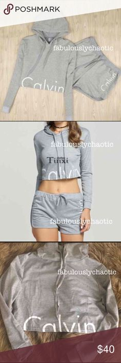 NWOT Medium Calvin Klein Set - Brand new WITHOUT tags inside and out! - Size: Medium - Set includes: 1 lightweight, CROPPED hoodie and 1 pair of shorts  Tags: Calvin Klein, Tommy Hilfiger, Nike, Adidas, Brandy Melville, Hoodie, Sweater, Long Sleeve, Morphe, Too Faced, Kylie, Jeffree Calvin Klein Sweaters