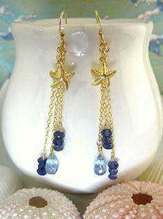 Swiss blue quartz blue iolite starfish gold dangle by KBlossoms, $45.00