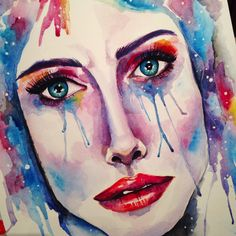 """Hydra"". Mihaela F watercolor painting. Stars. Galaxy. Girl. Emotions. Art. Colors. Portrait"