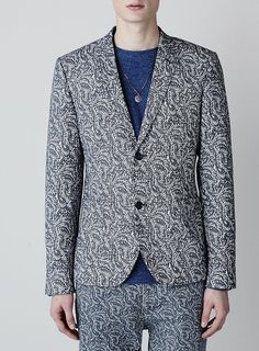 Navy and white all over print skinny fit blazer