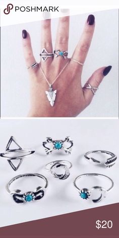 🌔🌙✨6 piece lunar moon ring SET turquoise jewelry Not FLL. Alloy plated high quality 6 piece ring set! Does not come With the arrowhead all other rings included. For Love and Lemons Jewelry Rings