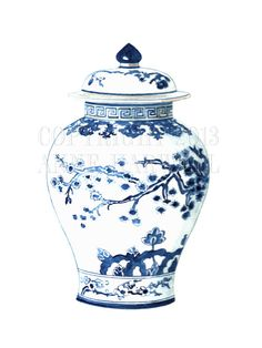 This is a print of an original gouache/ink painting by artist Anne Harwell. Features a classic blue and white Chinoiserie porcelain ginger jar. This