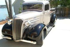 Presents a front left photograph of an impressive gray and black 1937 Chevrolet Pickup truck. Chevy Pickup Trucks, Gm Trucks, Chevy Pickups, Chevrolet Trucks, Chevy Hot Rod, Hot Rod Pickup, Antique Trucks, Vintage Trucks, Hot Rod Trucks